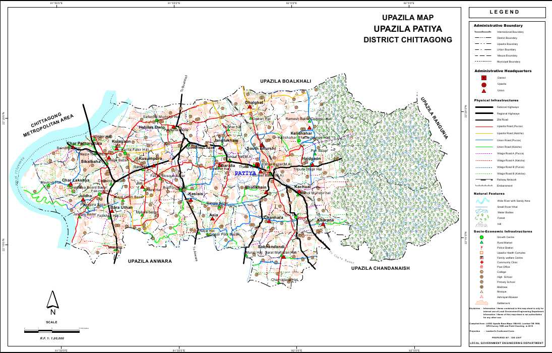 Patiya Upazila Map Chittagong District Bangladesh