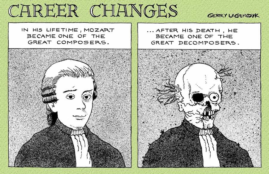 graveyard cartoon, gallows humor, Gerry Lagendyk, mozart cartoon