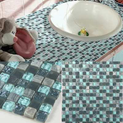 stone and glass mosaic sheets blue square tiles natural marble tile backsplash wall kitchen tile