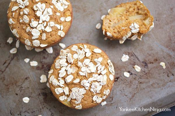 Healthy apple pumpkin breakfast muffins