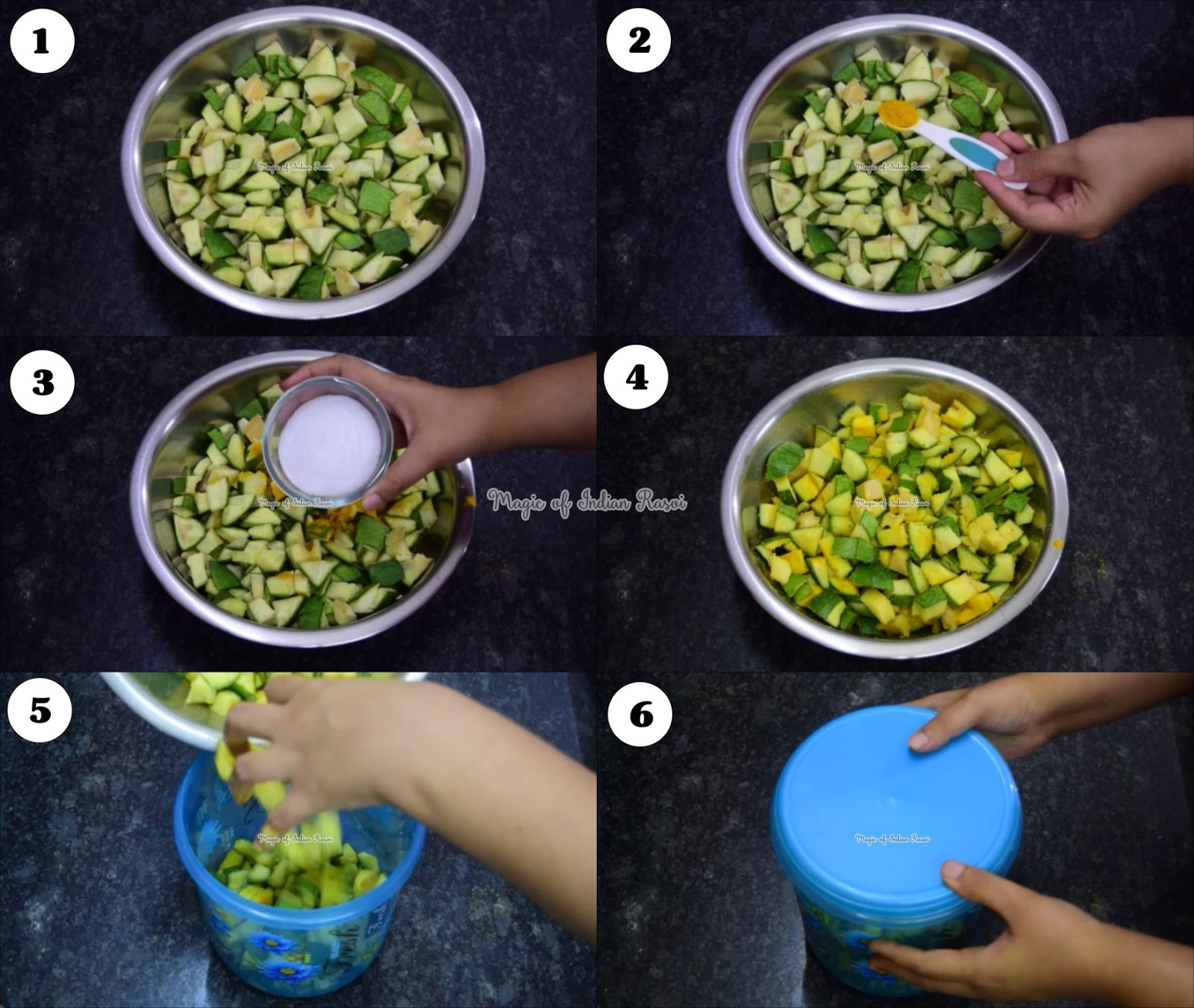 Gujarati Mango Pickle - Sambhariyu Athanu Recipe - Priya R - Magic of Indian Rasoi