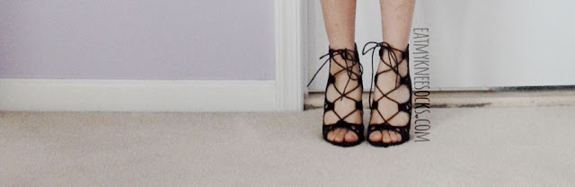 Details on the black lace-up strappy tie-front heeled sandals from Wholesalebuying, similar to Public Desire heels.