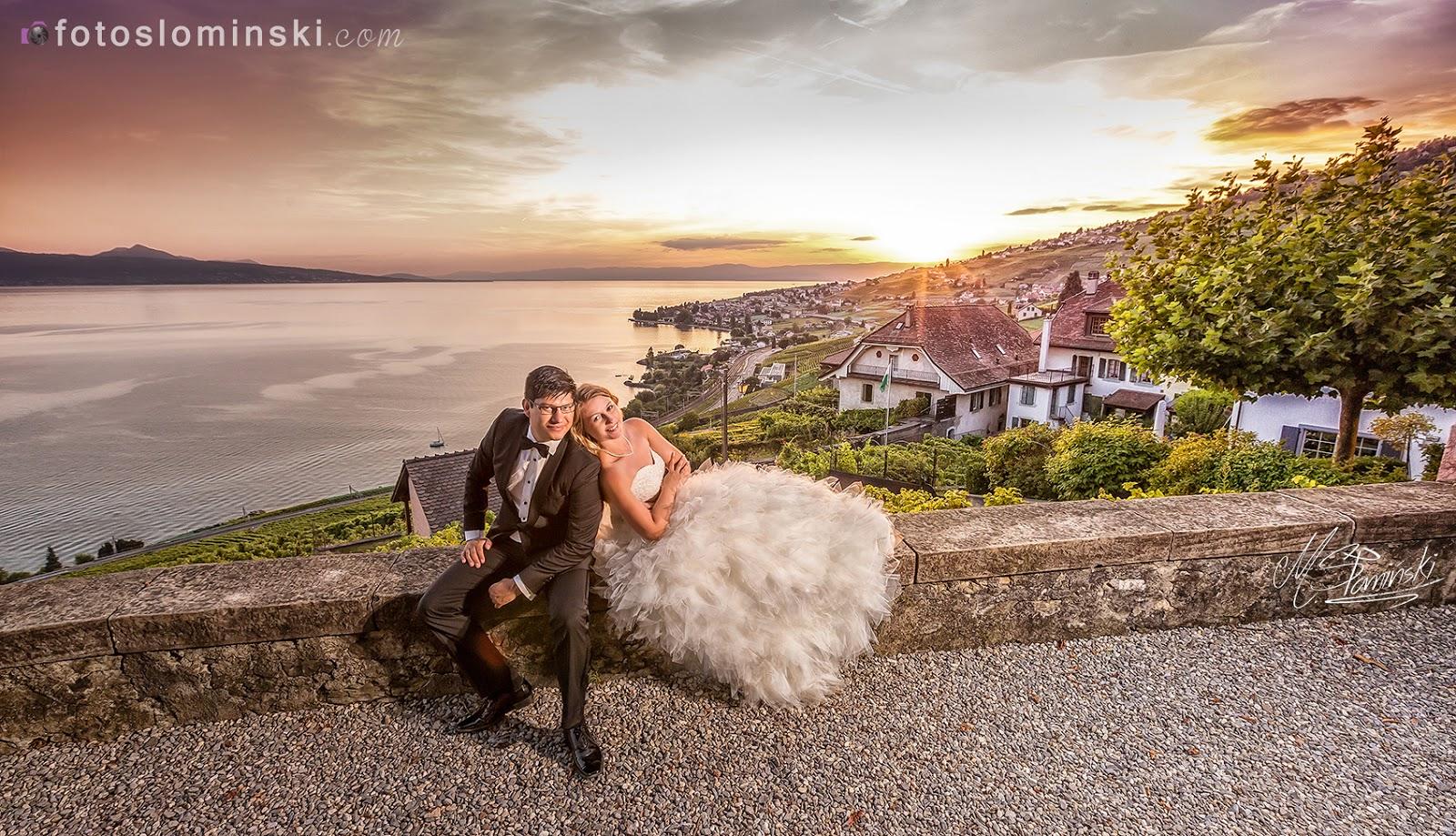 Fotografia ślubna Wrocław - Sesja plenerowa w Szwajcarii - Montreux nad jeziorem Genewskim.