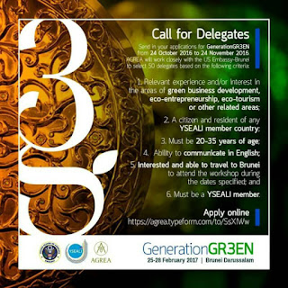 Call For Delegates (Be one of the 50 delegates of #YSEALI GenerationGR3EN!)