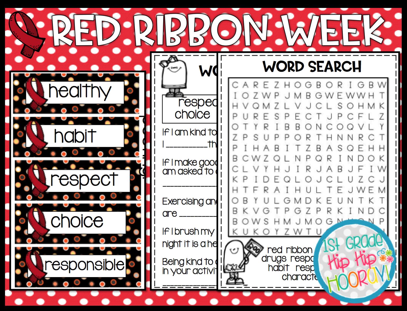 1st Grade Hip Hip Hooray Red Ribbon Week