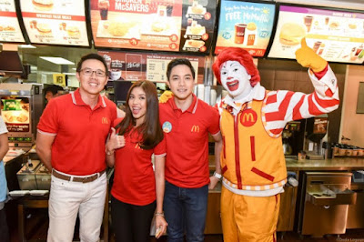 Maine and Alden with McDonald's CEO, Kenneth S. Yang and  McDonald's Chief Happiness Officer, Ronald McDonald
