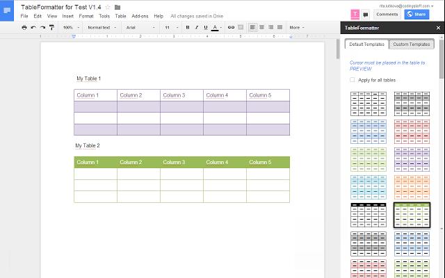 The Lifelong Learner Blog Table Formatter Google Docs Addon - Google docs create own templates
