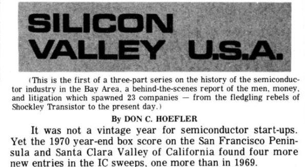 Awal Mula Nama Silicon Valley