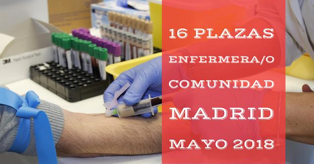 Convocatoria para enfermeros en Madrid Mayo 2018