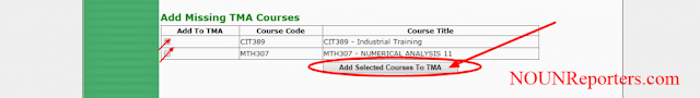 Add Selected Courses to TMA