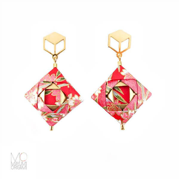 pink and gold square mosaic origami earrings
