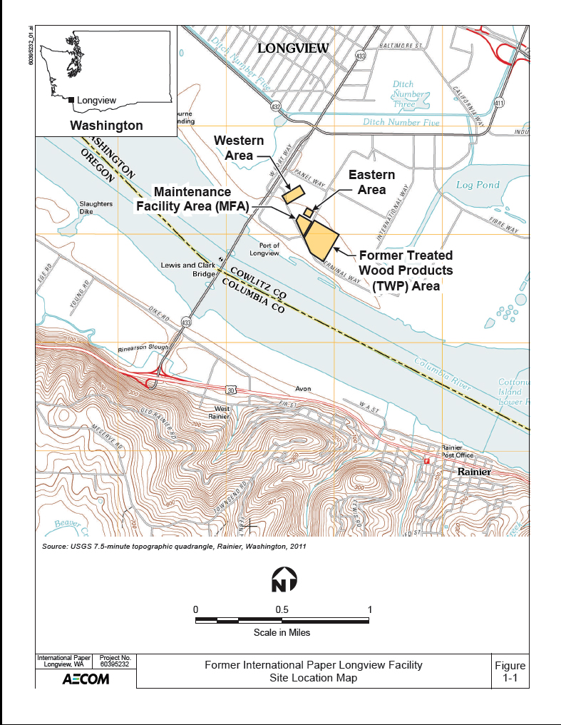 this site map shows the location of buildings and other landmarks at the former international paper