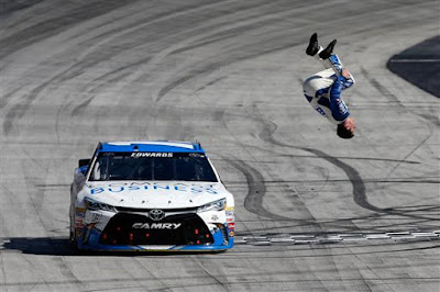 Carl Edwards celebrates winning the #NASCAR Sprint Cup Series Food City 500 at Bristol Motor Speedway.