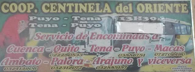 Cooperativa de Transportes Centinela del Oriente en la ciudad de Tena