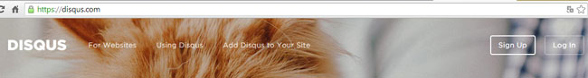 A página inicial da disqus.com. No topo direito, há dois botões: no primeiro, o Sign Up (para se cadastrar) e o segundo, Log In, para entrar no sistema, caso já tenha uma conta