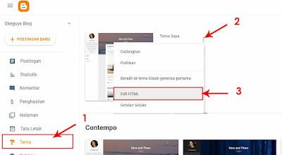 pilih menu tema edit html