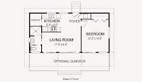 plano de casa 10,97 x 5,49 metros aproximados de una habitación y un baño contemporánea rectangular pequeña de una planta con medidas