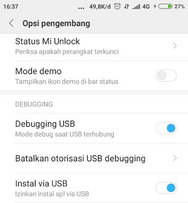 Opsi pengembang Debuggung USB