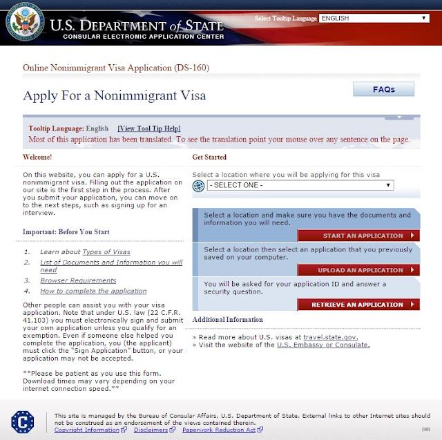 formulario visa estados unidos