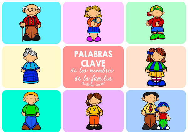 Vídeo de talking flash cards y tarjetas de vocabulario imprimibles de los miembros de la familia en inglés para educación infantil y educación primaria