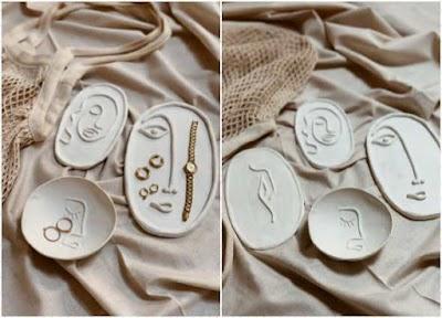 Bandejas de arcilla fría decoradas para bisutería