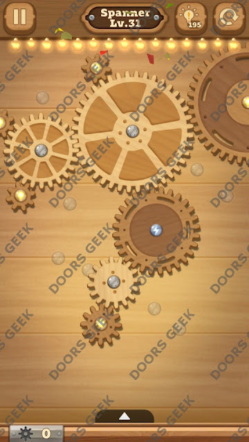 Fix it: Gear Puzzle [Spanner] Level 31 Solution, Cheats, Walkthrough for Android, iPhone, iPad and iPod