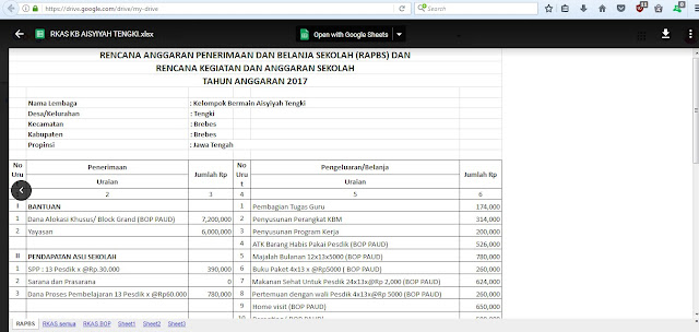 Aplikasi RKAS BOP PAUD Tahun 2017