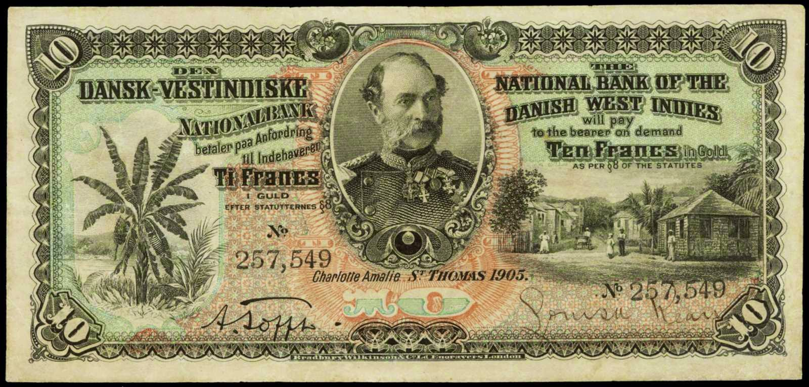 Danish West Indies banknotes 10 Francs in Gold note 1905
