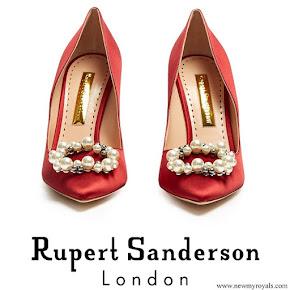 Crown Princess Mary wore RUPERT SANDERSON Pinka embellished pebble satin pumps
