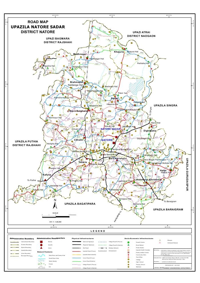 Natore Sadar Upazila Road Map Natore District Bangladesh