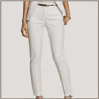 Ladies White Ankle Pants