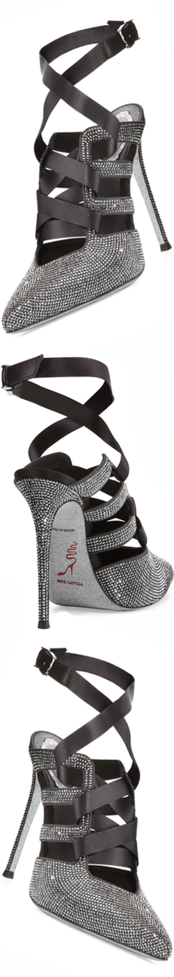 Rene Caovilla Crystal Lace-Up 115mm Pump, Gray