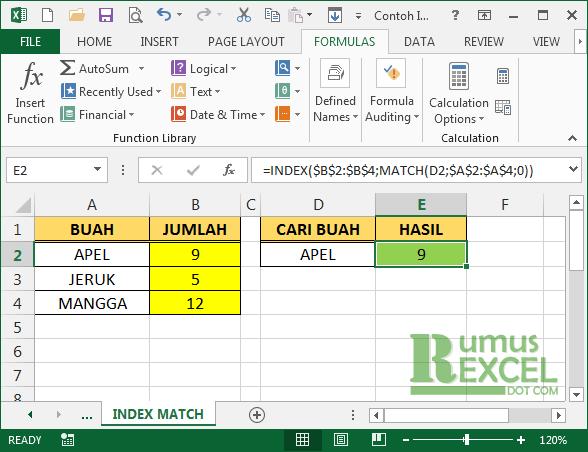 Contoh Fungsi Index dan Match Excel
