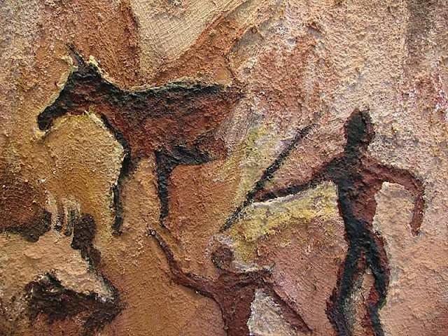 Cena de caçada em pintura rupestre.