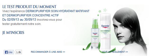 Pour le mois de septembre, Eucerin propose un nouveau test produit    DERMOPURIFYER soin hydratant matifiant et DERMOPURIFYER concentré actif. 6d8fc3c99fa4
