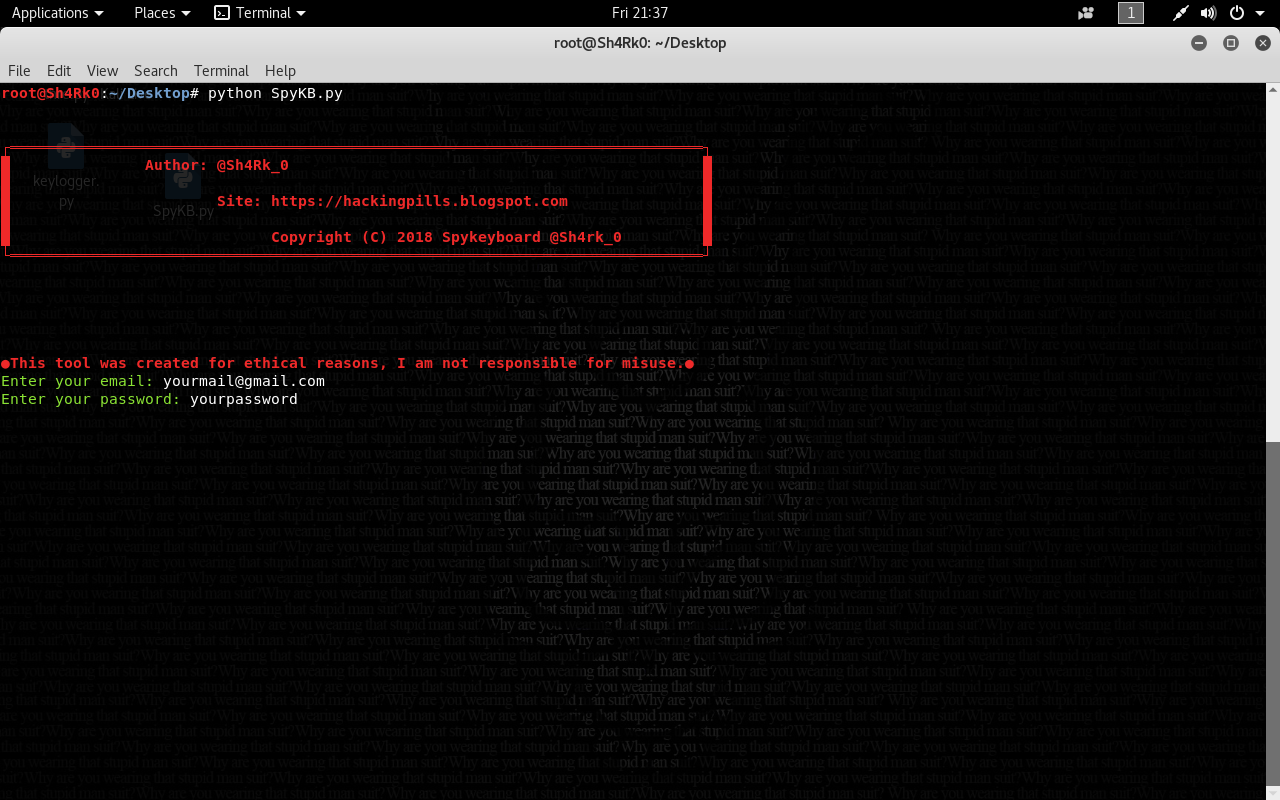 Spykeyboard - Keylogger Which Sends Us The Data To Our Gmail