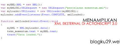 menampilkan xml eksternal dengan as 3