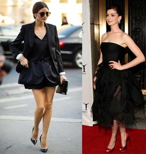 Como combinar los zapatos con un vestido negro