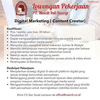 Lowongan Kerja Digital Marketing PT. Maicih Inti Sinergi