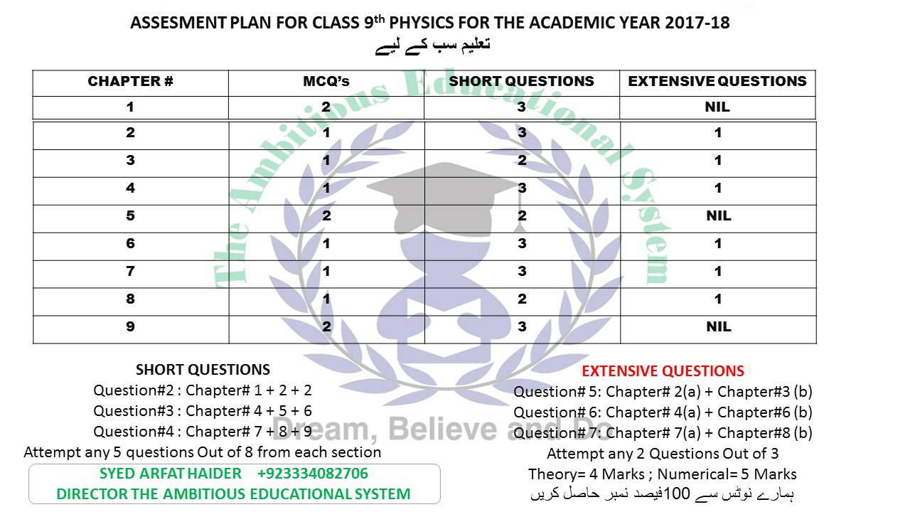 9th Physics Pairing Scheme 2018