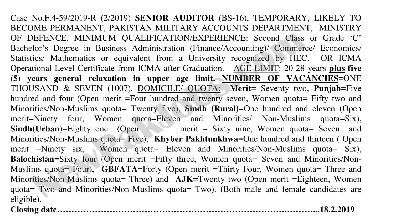 Senior Audit Jobs through FPSC
