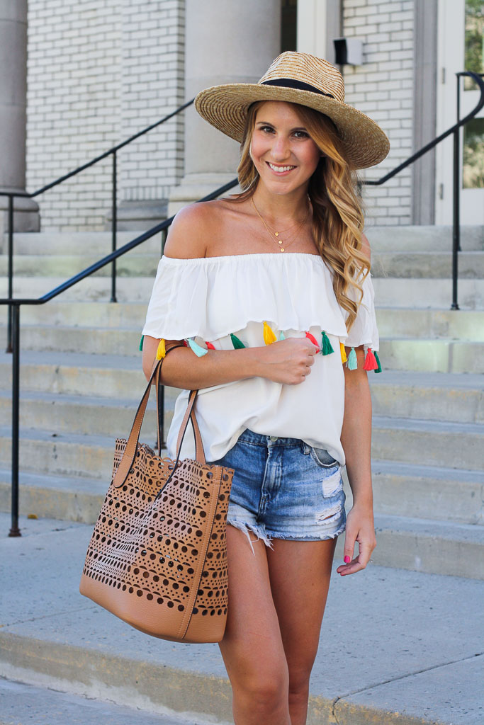 ab413e0e90b47 Tassel Top c o    Blank NYC Shorts    Panama Hat    Lace Up Wedges (this  brand just came out with a line for Target and are selling an almost  identical pair ...