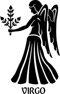 Orígenes de los signos. Imagen de virgo en el zodiaco con su nombre escrito