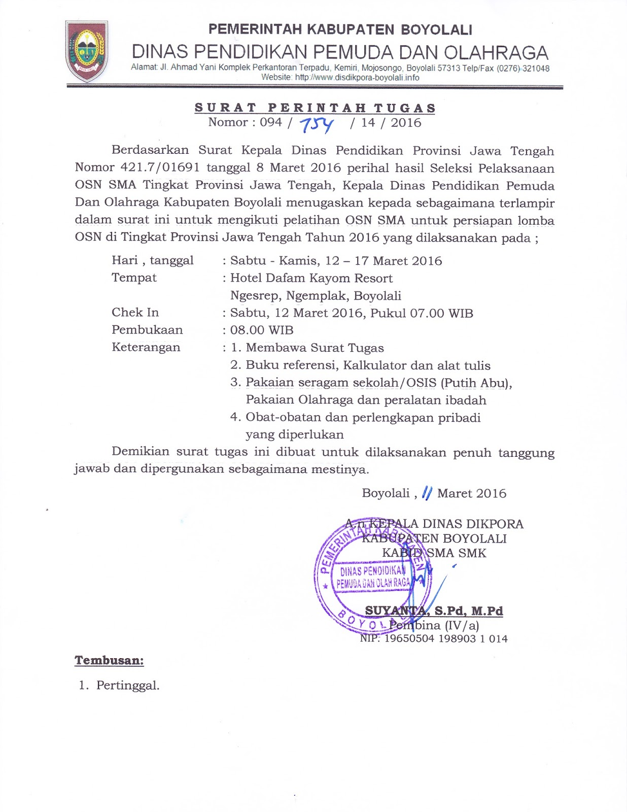 Info Sma Smk Kabupaten Boyolali Surat Perintah Tugas Pelatihan Osn