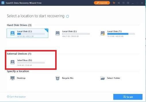 Pilih lokasi flashdisk kamu di EaseUS Data Recovery
