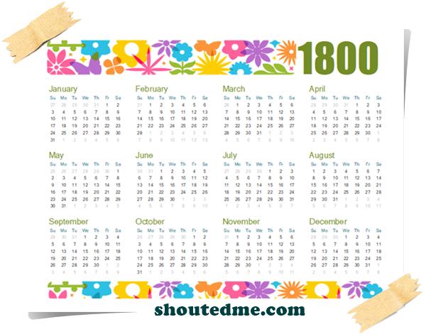 kalender tahun 1800 full