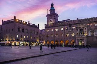 Bologna's Piazza Maggiore at dusk, looking towards the Palazzo d'Accursio - or Palazzo del Comune