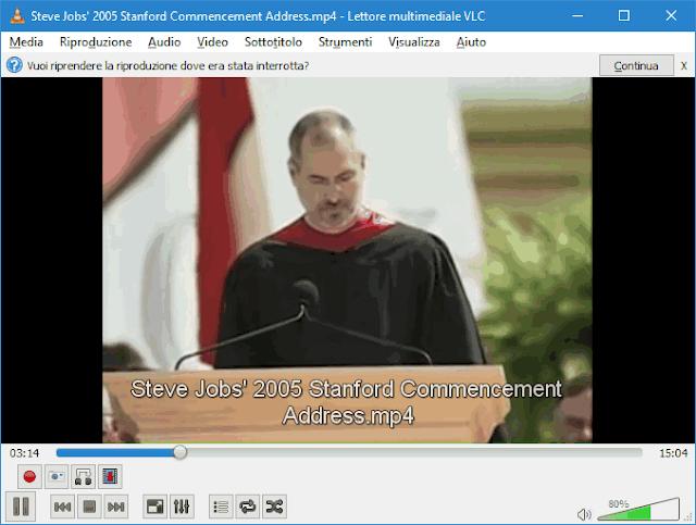 VLC notifica Vuoi riprendere la riproduzione