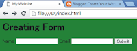 making form in html coding with output result
