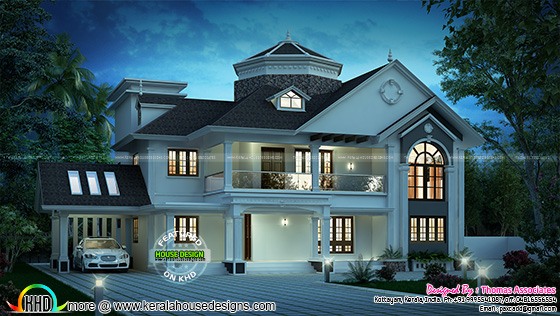 Grand style sloping roof house with cost